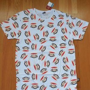 NWT $45~PAUL FRANK~White 'JULIUS' Print T-Shirt~M